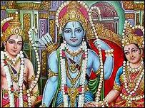 Imagen del dios Rama (en el centro)