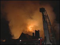 Fire at former hospital (picture by HCVF television)