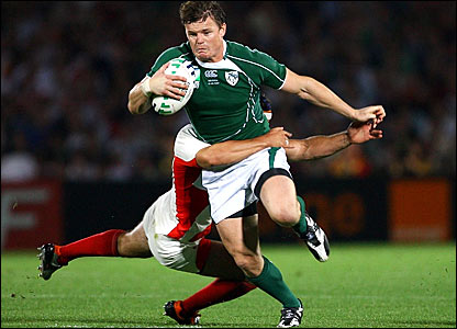 Ireland's Brian O'Driscoll is tackled by Georgia's Davit Kacharava