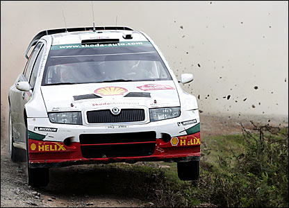 Colin McRae driving a Skoda in Wales Rally GB