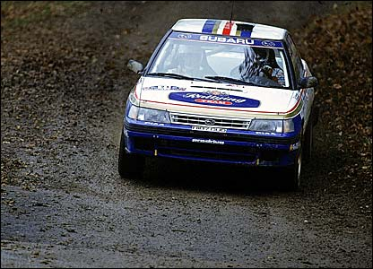 Colin McRae driving his Subaru in 1991
