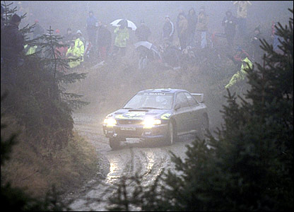 Colin McRae on his way to winning the Rally GB in 1997