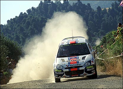 Colin McRae on his way to victory in the Acropolis Rally in Greece in 2001