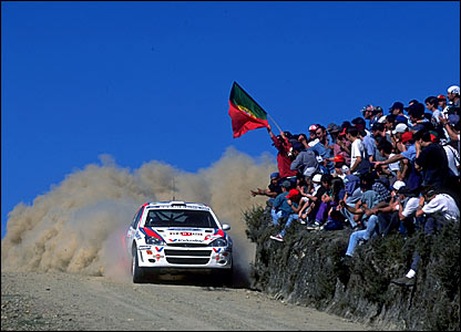 Colin McRae on his way to victory in the Safari Rally in Kenya