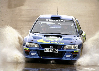 Colin McRae driving at the 1998 Rally GB