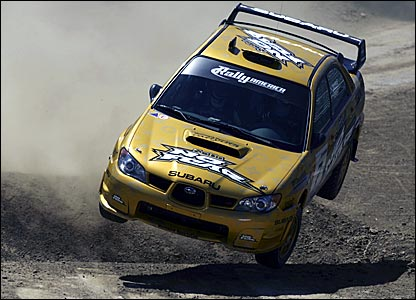 Colin McRae loses control in the American Rally in Los Angeles