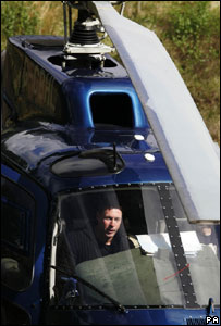 Colin McRae in his helicopter