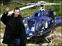 Colin McRae with helicopter in 2006