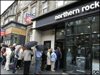 Queues outside a Northern Rock branch