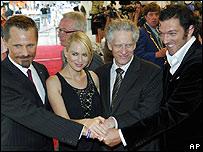 (l-r) Viggo Mortensen, Naomi Watts, David Cronenberg, Vincent Cassel