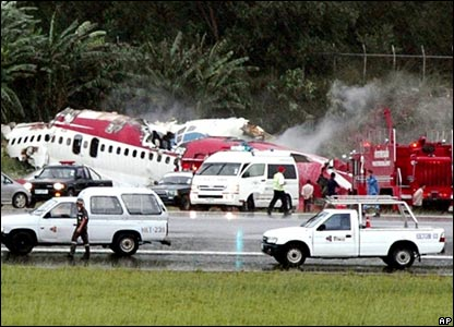 Plane Crash at Phuket Airport - Photo from BBC news Website/AP
