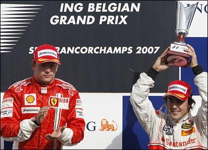Kimi Raikkonen and Fernando Alonso on the podium