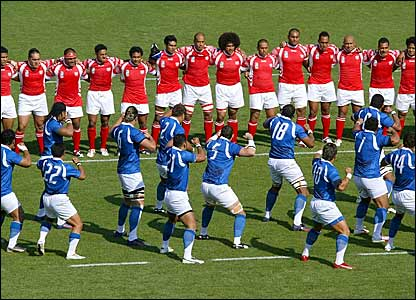 Samoa players perform the haka after Tonga's haka