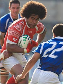 Tonga number eight Finau Maka takes on Samoa replacement wing David Lemi