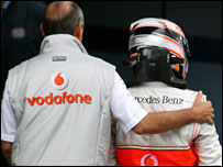 McLaren team boss Ron Dennis (left) and Fernando Alonso