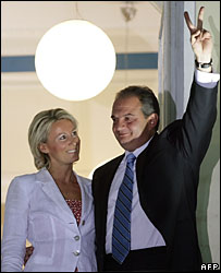 Greek Prime Minister Costas Karamanlis with wife Natasa