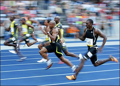 Marlon Devonish of Great Britain competes in the men's 100m