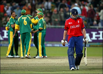 Andrew Flintoff trudges off after being bowled for 17 during England's defeat by South Africa in the World Twenty20 tournament