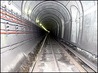 The Brunel tunnel after relining