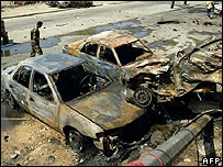 Aftermath of a car bombing and shoot-out in Baghdad
