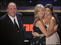 Left-right: The Sopranos stars James Gandolfini, Edie Falco and Jamie-Lynn Sigler at the Emmy Awards.