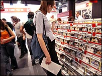 Women shopping in a Virgin Megastore in London