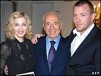 Madonna, Israeli President Shimon Peres and Guy Ritchie