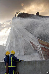 Foam on fire. Image: PA
