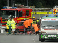 Scene of the collision on the M4