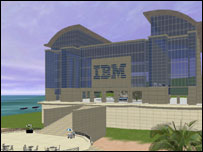 Screenshot of IBM building in virtual world, IBM