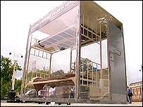 A replica prison cell