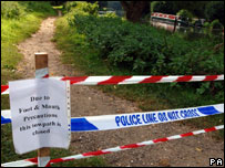 A footpath cordoned off in Surrey