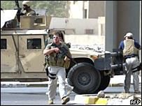 Un agente de la empresa privada de seguridad Blackwater en Bagdad.