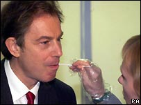 Former PM Tony Blair gives a DNA sample in 1999