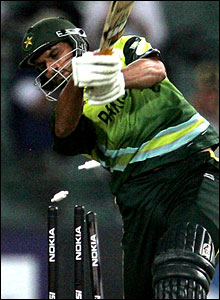 Afridi is clean bowled looking for a big hit