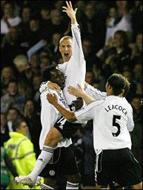 Kenny Miller celebrates scoring against Newcastle