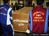 Rescue workers carry the coffin of one of the victims of the crash, 17/09/07