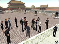 Ciudadanos de un mundo virtual se reúnen en una plaza.