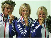 Shirley Robertson (centre) celebrates Olympic success in 2004