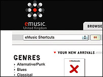 Detail from eMusic's main page