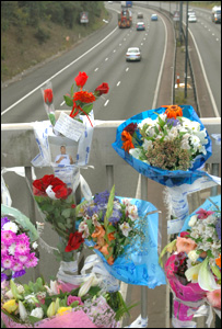 Floral tributes near scene of collision