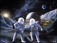 Рисунок, на котором изображена лунная станция будущего
