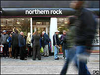 Queue outside Northern Rock branch