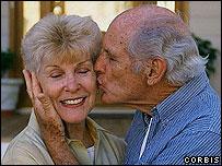 Older people kissing