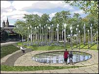 An artist's impression of the Memorial Garden and the mirrors