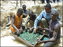 Copper miners in DRC