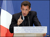 French President Nicolas Sarkozy (18 Sept 2007)