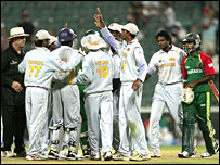 Sri Lanka celebrate their win