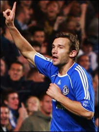 Andriy Shevchenko celebrates his equaliser for Chelsea