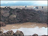 A crater made apparently by a meteorite in Peru